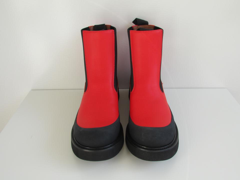 Red Boots Céline Leather Booties Bright Country aqnnA5Zw