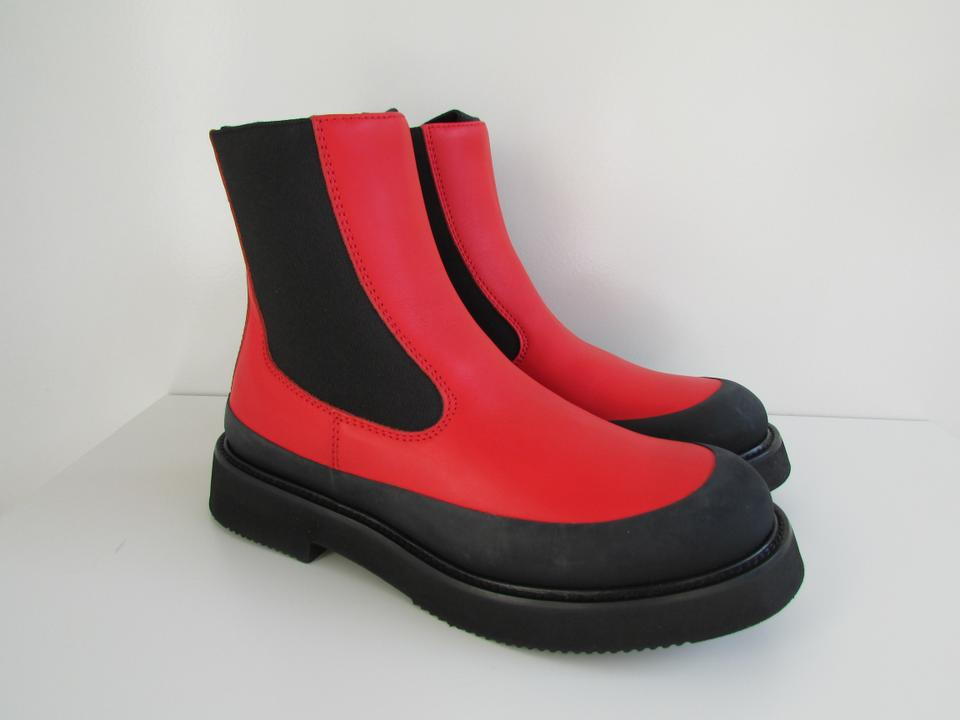 Boots Red Céline Country Leather Booties Bright qax6wpR8