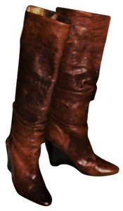 BCBG Paris Wedge Rust and Gold Metallic Inner Leather Boots Boots