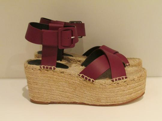Céline Burgundy Leather Criss Cross Sandals Image 3