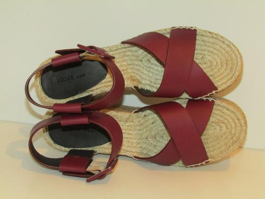 Céline Burgundy Leather Criss Cross Sandals Image 4