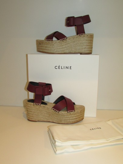 Céline Burgundy Leather Criss Cross Sandals Image 5