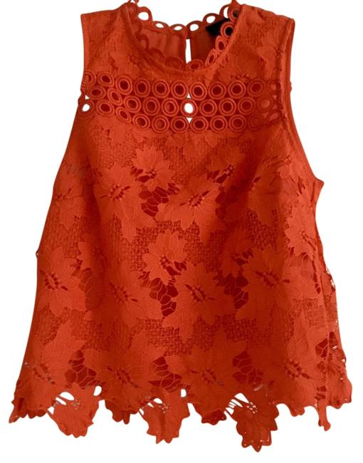Item - Red Orange Floral Lace Crochet Shell Tank Top/Cami Size 6 (S)