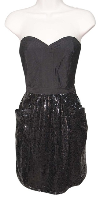Item - Black Lined Quilted Corset Bustier Sequin Sheath Short Cocktail Dress Size 6 (S)