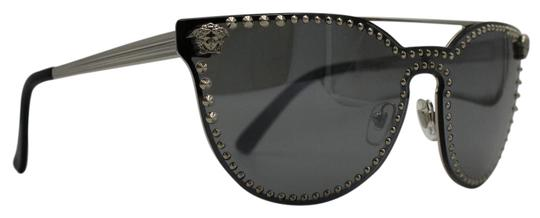 673e280c97ae Versace Cat Eye Studded Silver Grey Mirrored Medusa Head Sunglasses 2177  1000 Image 0 ...