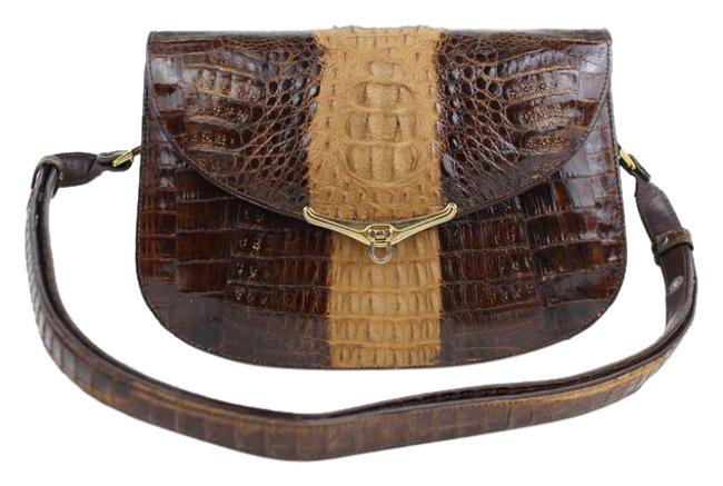 Item - Bicolor Flap 11mt915 Chocolate Crocodile Skin Leather Cross Body Bag