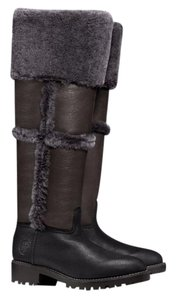 Tory Burch Shearling Snow Winter Knee High Charcoal Gray Black Boots