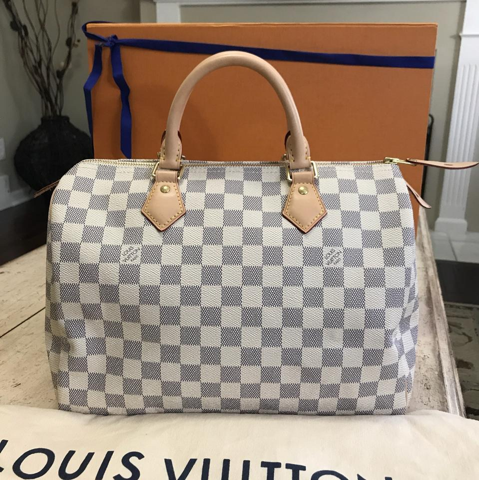 fbb02befae3 Louis Vuitton Clutch Speedy Box 2017 Great Condition 30 Comes with and  Dustbag. (Azur) Damier Azur Canvas Leather Satchel 13% off retail
