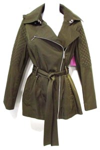BCBGeneration Hooded Trench Belted Casual Olive Jacket