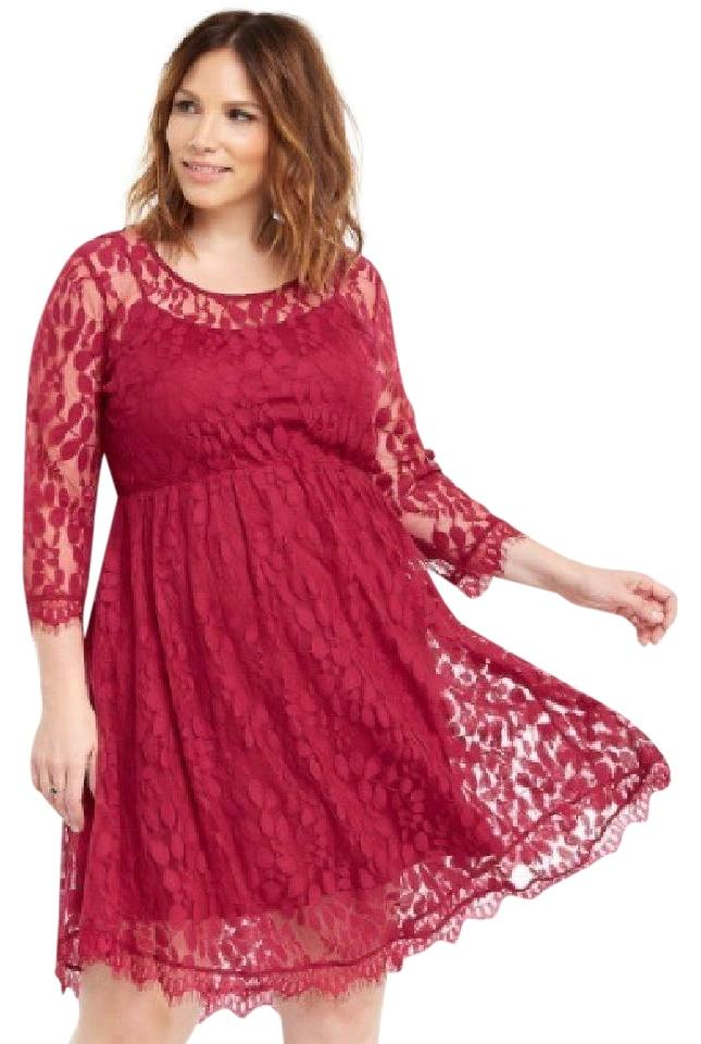 9bde9458d3c Torrid Reddish Pink Lace V-hem Skater Mid-length Cocktail Dress Size ...