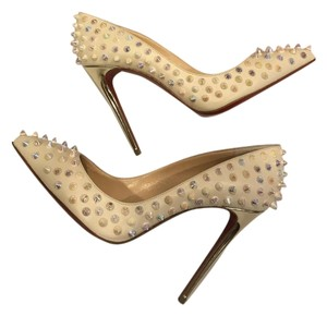 Christian Louboutin Heels Follies Spikes Studded Ivory White Gold Pumps