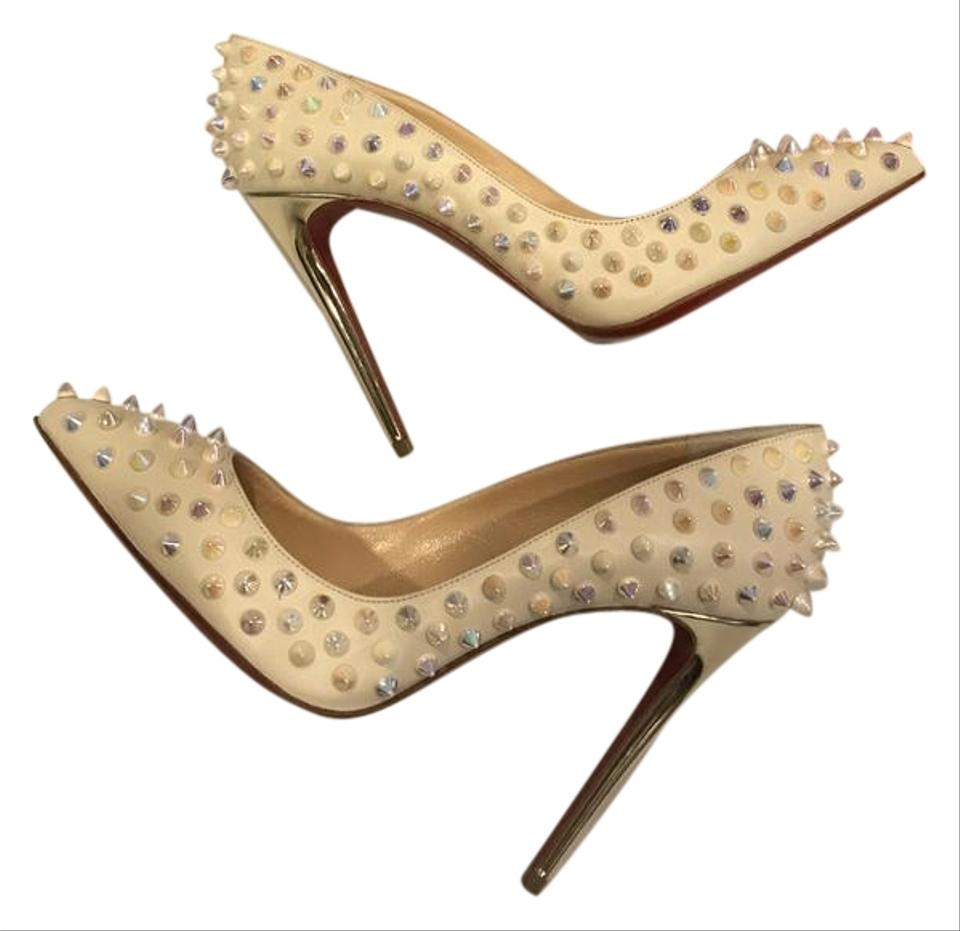 e5be9dc6442 Christian Louboutin Heels Follies Spikes Studded Ivory White Gold Pumps  Image 0 ...