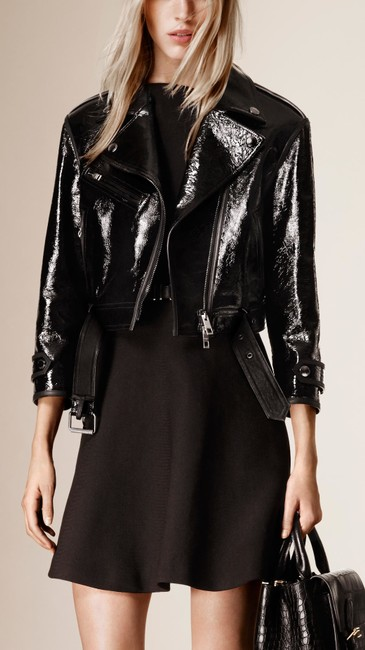 Burberry Black Leather Cropped Biker Coat Us Eu 40 Italy Jacket Size 6 (S) Burberry Black Leather Cropped Biker Coat Us Eu 40 Italy Jacket Size 6 (S) Image 1