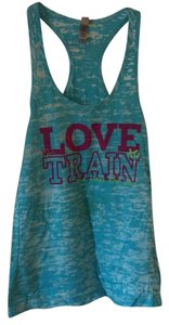 Next Level Apparel Top Blue and white with dark pink and light green lettering.