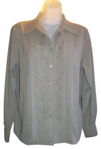 Laura Scott Embroidered Polyester Button Down Shirt beige