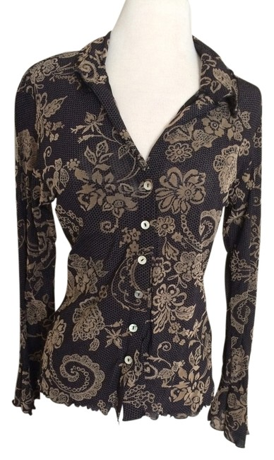 Preload https://item2.tradesy.com/images/black-and-tan-vintage-blouse-size-8-m-2211561-0-0.jpg?width=400&height=650