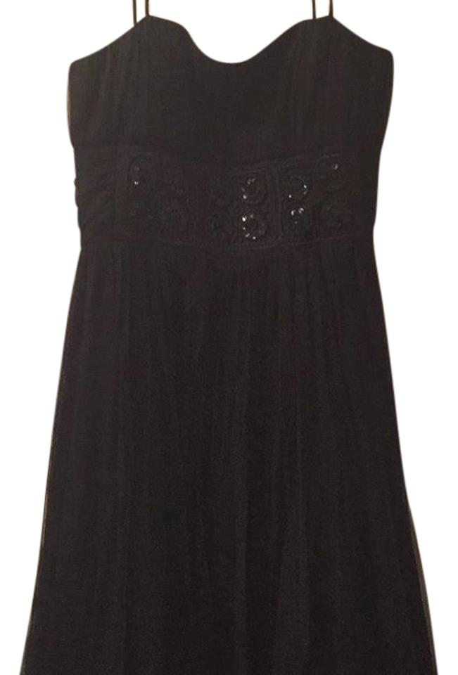 39e3467d288 Cache Black with Black Sequins Mid-length Cocktail Dress Size 8 (M ...