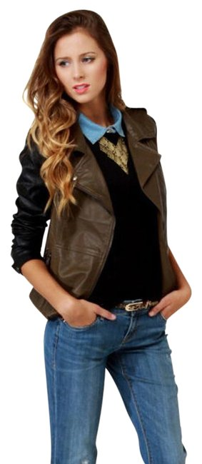 Item - Olive Brown and Black Moto Jacket Size 2 (XS)