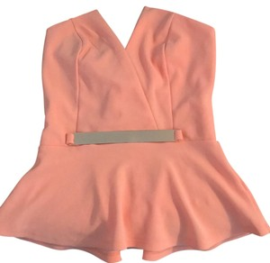 Charlotte Russe Tangerine with gold plate in front Halter Top