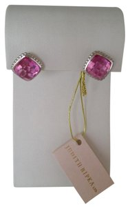 Judith Ripka Sterling Silver Pink Corundum Legacy Button Earrings