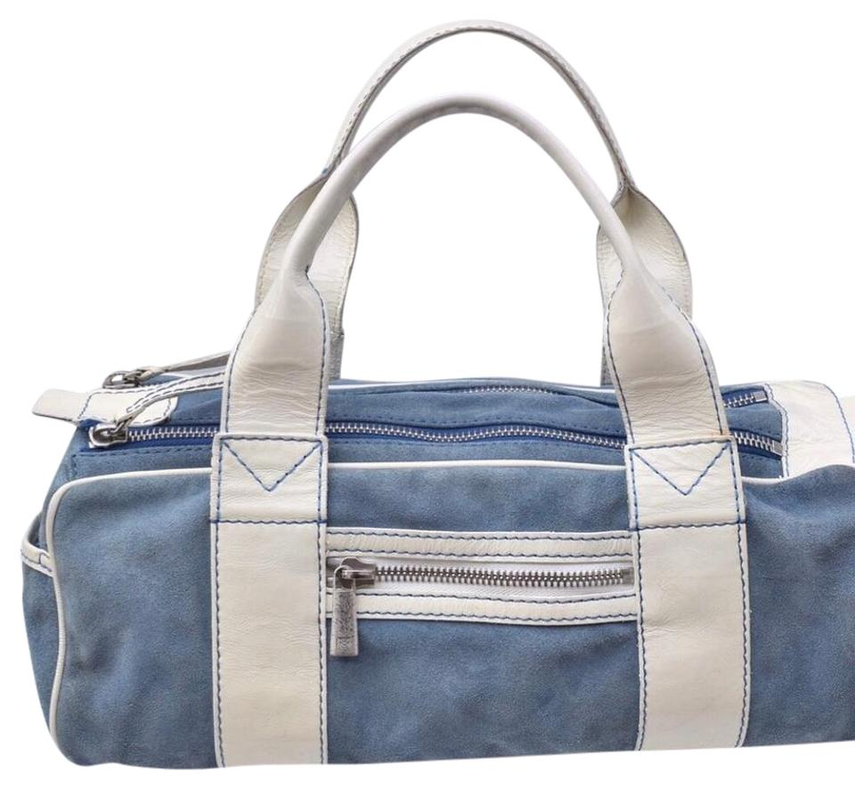 93864b342bf8 Michael Kors Small Duffle Blue & Off White Suede /Patent Leather ...