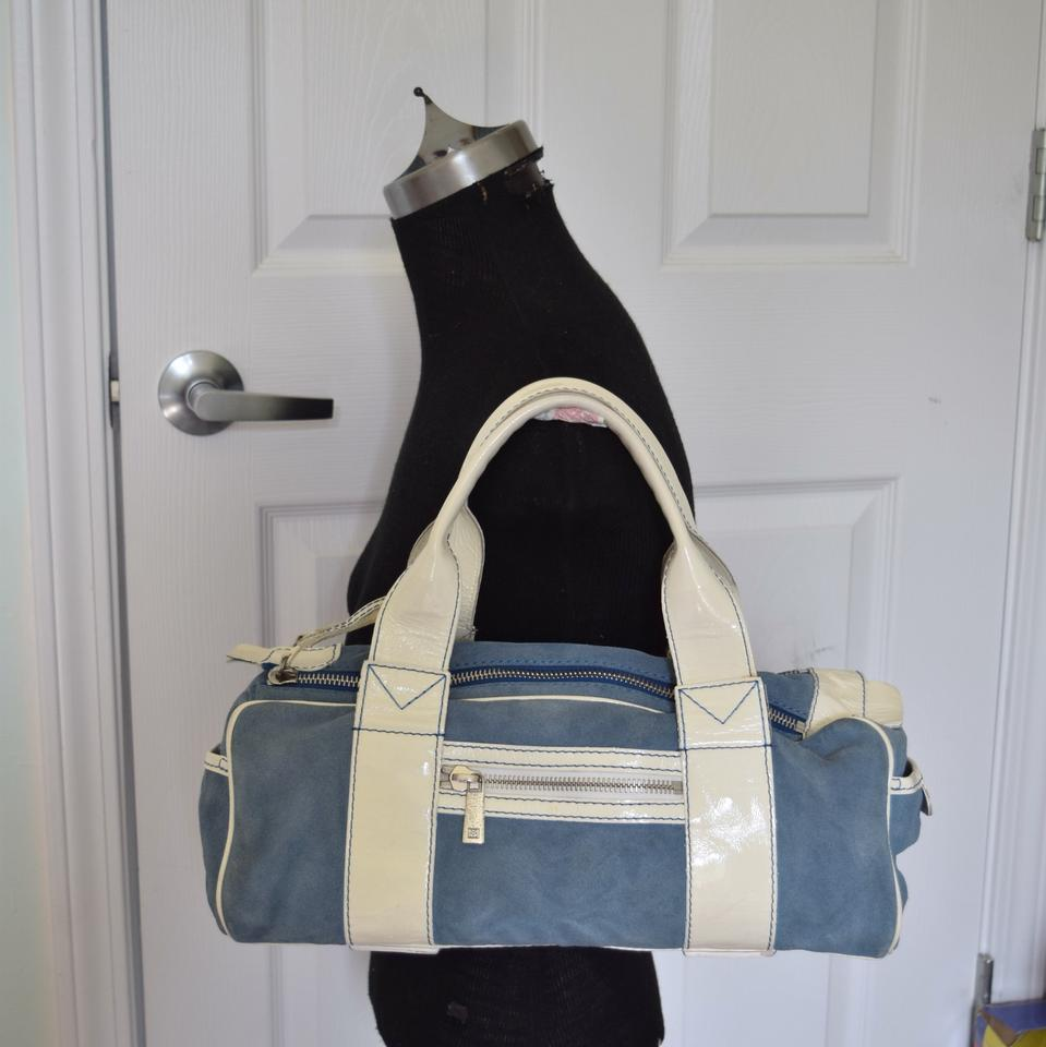 3c49bf640435 Michael Kors Small Duffle Blue & Off White Suede /Patent Leather Shoulder  Bag