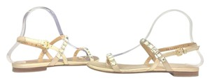Stuart Weitzman Flats Leather Size 7.5 Light Gold - Frosting Cipria Sandals