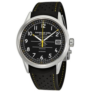 Raymond Weil Freelancer Black Dial Date Automatic Men's Rubber Watch