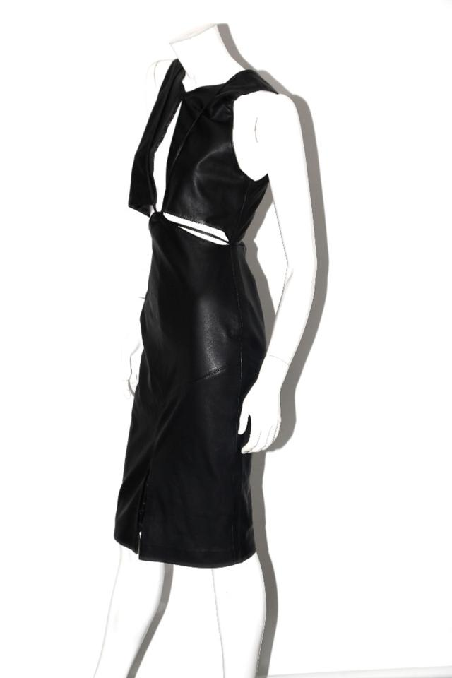 0a581ec25e102 Asilio Black Leather Sleeveless Short Cocktail Dress Size 4 (S ...