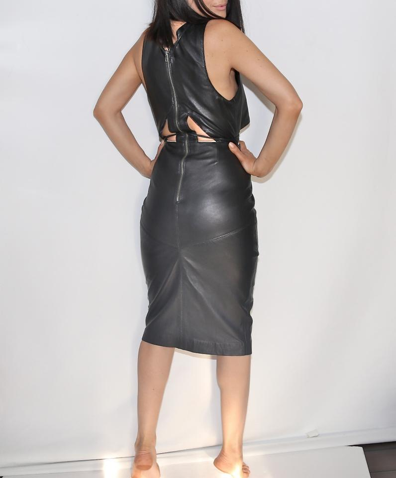 2ceeddc2f7d10 Asilio Black Leather Sleeveless Short Cocktail Dress Size 4 (S) - Tradesy