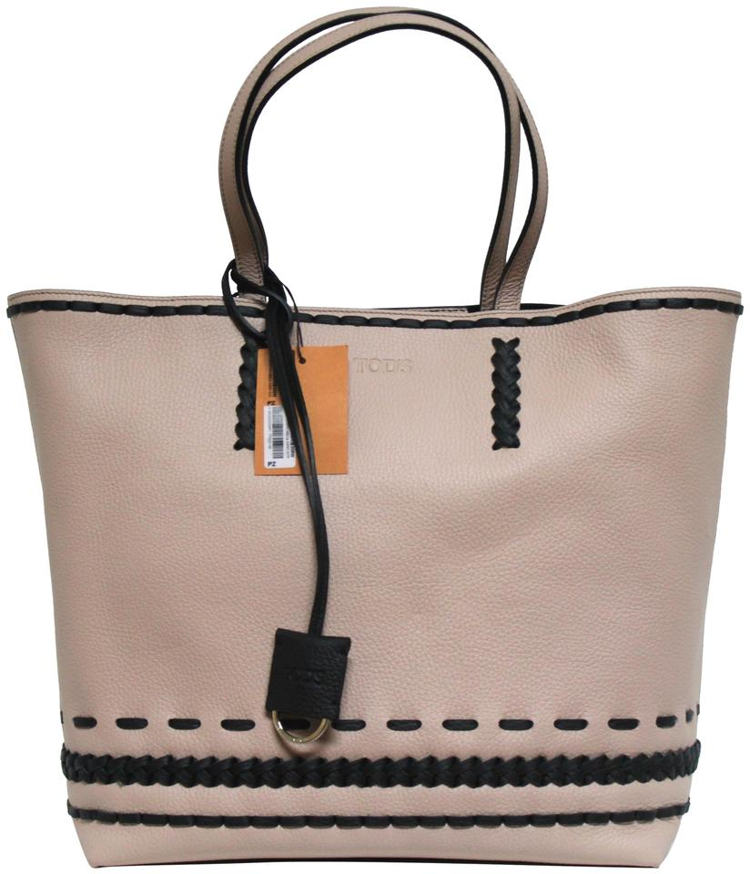 522817e58a Tod's New Stitch-detailed Medium Pebbled Gypsy Pink/Black Leather ...