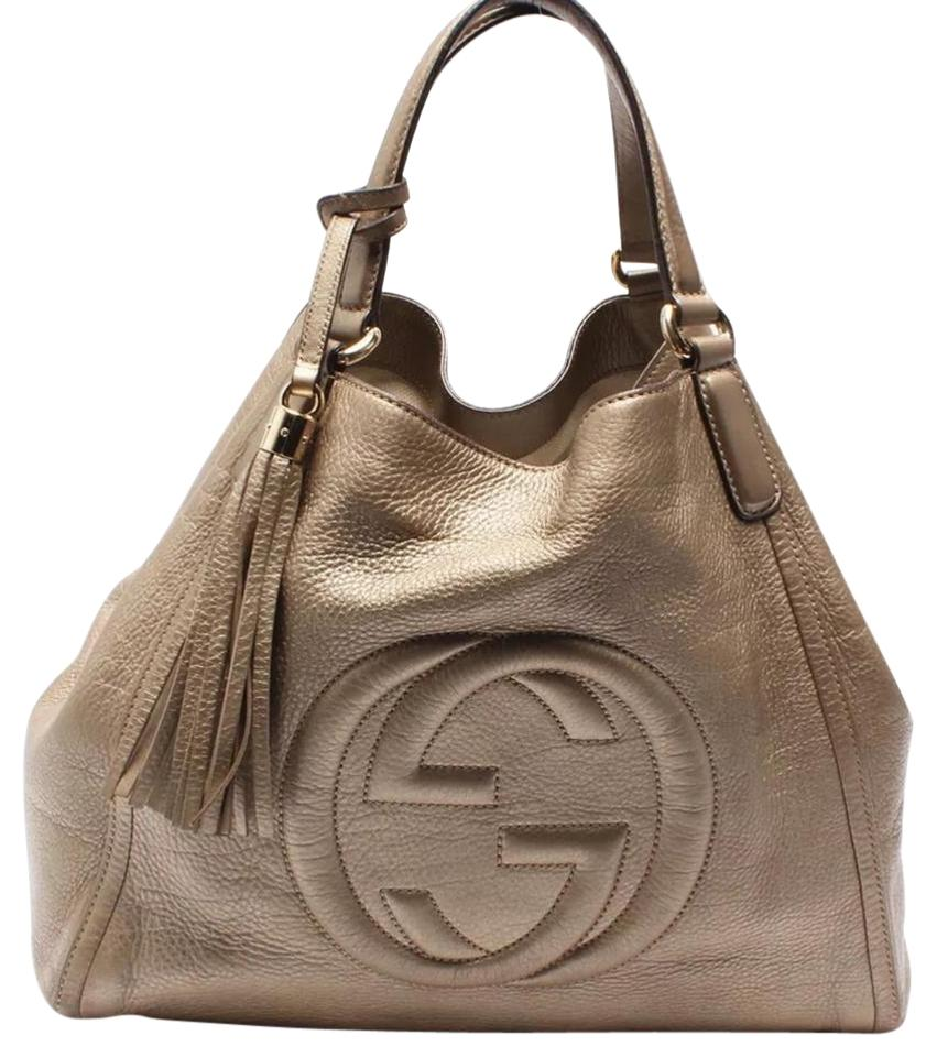 e3702bb03cd Gucci Soho Large Gg Tassel Tote Metallic Gold Leather Shoulder Bag ...