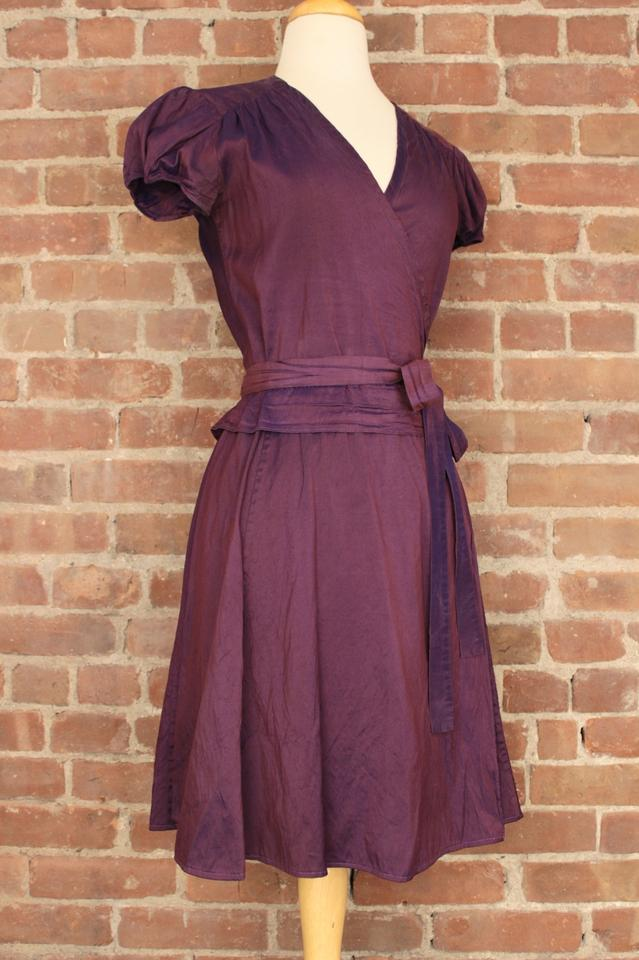 Calypso St Barth Royal Purple Silk Wrap Cap Sleeve 271 Work Office Dress