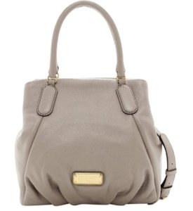 Marc Jacobs Leather Pleated Suede Gold Hardware Satchel in Cement