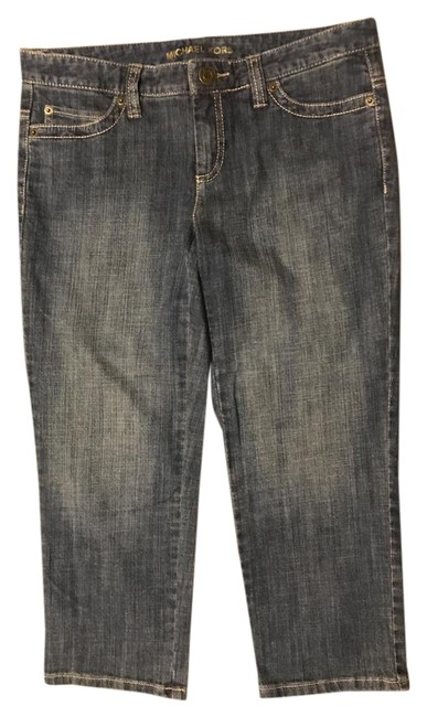 Item - Blue with Brown Leather Pockets Dark Rinse Low Capri/Cropped Jeans Size 28 (4, S)