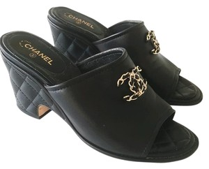 Chanel Casual Mule Chain Quilted Black Wedges