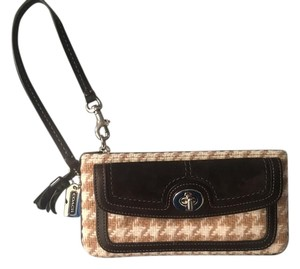 Coach Coach Leather & Houndstooth Wristlet