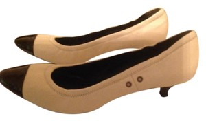 Prada Sporty Stretchy Kitten Leather Patent Leather Ivory/Black Pumps