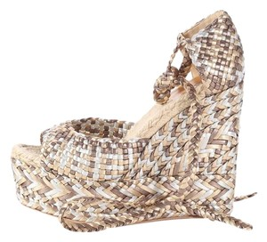 Herms Braided Hr.l0801.14 Leather Gold Metallic Sandals