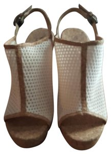 Splendid Cream woven with cork heels and accents. Mules
