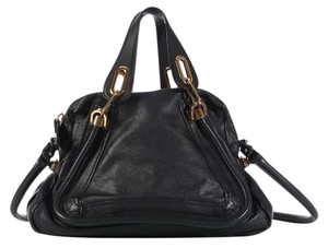 Chloé Gold Hardware Cl.l0404.13 Leather Convertible Satchel in Black