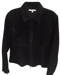 Anne Fontaine Faux Patent Faux Suede Black Jacket