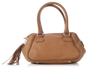 Chanel Ch.l0822.09 Lax Tassel Embossed Top Handle Satchel in Brown