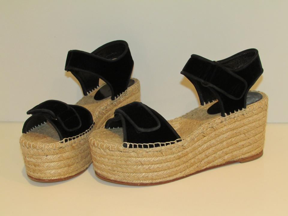 vente pas cher images officielles les dernières nouveautés Céline Black Velvet Scratch Espadrilles Wedges Size EU 39 (Approx. US 9)  Regular (M, B) 30% off retail