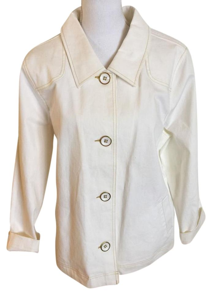 a2c0ad786dd Denim   Co. Ivory Co Off White Jacket 1x Womens Big Buttons New ...