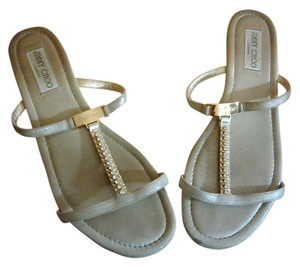 Jimmy Choo Suede Leather Silver Sandals