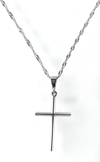 Cross Pendant Necklace * Cross Pendant White Gold Necklace Image 1