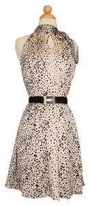 Madison Marcus Silk Trapeze Leopard Bow Pleated Dress