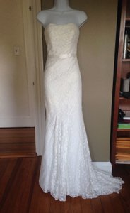 Galina White Lace Sheath Sz.2 Wg3381 Destination Wedding Dress Size 2 (XS)