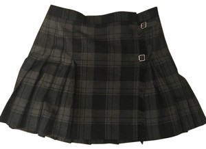 Ralph Lauren Plaid Pleated Polo Skirt Charcoal